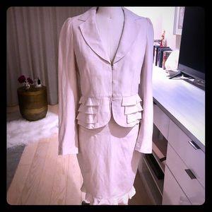 Rebecca Taylor Skirt Suit Silk & Linen 6 Soft Pink
